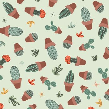 Greenhouse Gardens Looking Sharp Sage Cactus Plants Potted Cacti Botanical Cotton Fabric