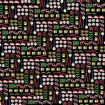 Geisha Girl I Love Sushi Black Ngiri Maki Fish Japanese Food Chopsticks Cotton Fabric