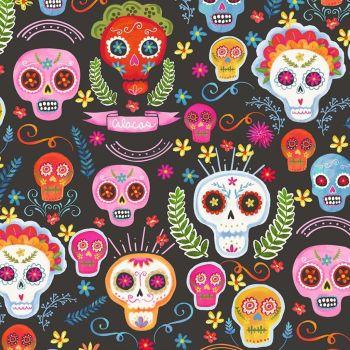 La Vida Loca Sugar Skulls Charcoal Fiesta Day of the Dead Cotton Fabric