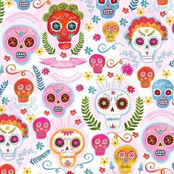 La Vida Loca Sugar Skulls Blush Fiesta Day of the Dead Cotton Fabric