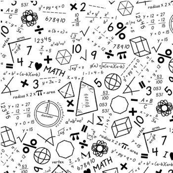 Stem Squad Math White Mathematics Equations Calculations Formulas Fractions Cotton Fabric