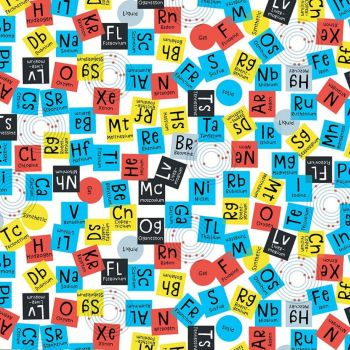 Stem Squad Periodic Elements White Science Chemistry Symbols Cotton Fabric