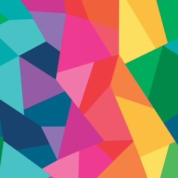 Create by Kristy Lea Main Rainbow Geometric Ombre Shapes Cotton Fabric