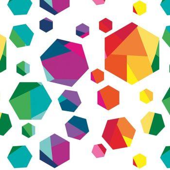Create by Kristy Lea Rainbow Hexies White Hexagon Hexy Rainbow Geometric Cotton Fabric