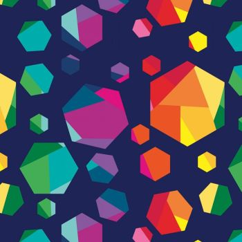 Create by Kristy Lea Rainbow Hexies Navy Hexagon Hexy Rainbow Geometric Cotton Fabric