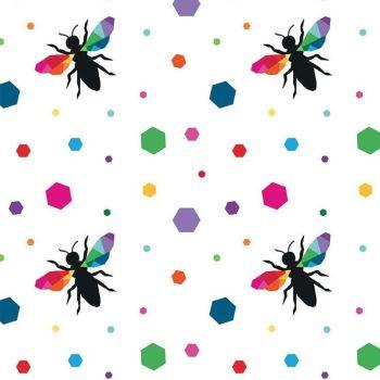 Create by Kristy Lea Main Hexie Bees Colour  Geometric Rainbow Cotton Fabric