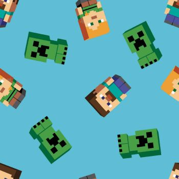 Mojang Minecraft Characters on Blue Creepers Steve Alex Toss Gamers Video Game Cotton Fabric per half metre.