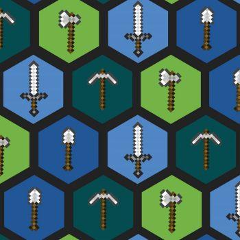 Mojang Minecraft Tools Weapons Axe Sword Diamond Pickaxe Shovel Gamers Video Game Cotton Fabric per half metre.