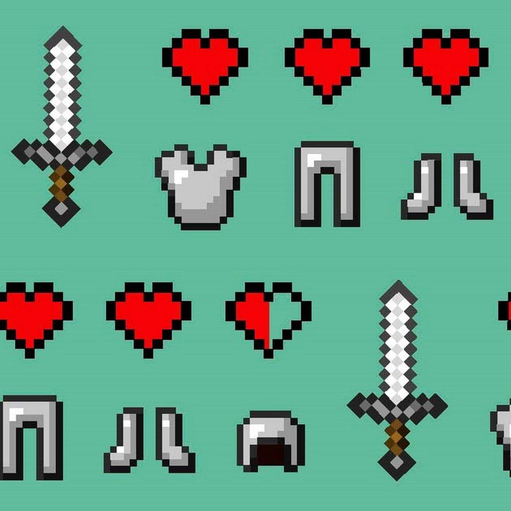 Mojang Minecraft Health Hearts Diamond Sword Armor Gamers Video Game Cotton