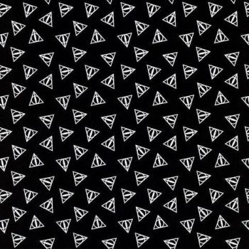 Harry Potter Deathly Hallows Logo Metallic Silver Hogwarts Magical Wizard Witch Cotton Fabric Wizarding World Collection per half metre