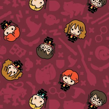 Harry Potter Kawaii Rookie Wizards Burgundy Red Hogwarts Magical Wizard Witch Cotton Fabric Wizarding World Collection per half metre