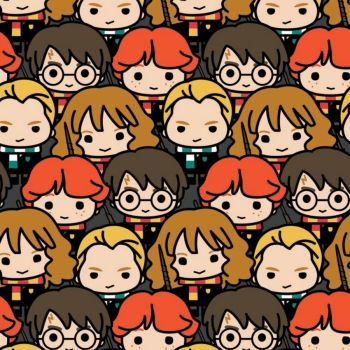 Harry Potter Kawaii Packed Character Hogwarts Magical Wizard Witch Cotton Fabric Wizarding World Collection per half metre