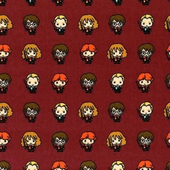 Harry Potter Flannel Kawaii Rookie Wizards Burgundy Red Hogwarts Magical Wizard Witch Bamboo Cotton Fabric Wizarding World Collection per half metre