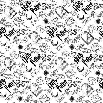 Harry Potter Flannel Brushed Cotton White Icons Logo Hogwarts Magical Wizard Witch Fabric Wizarding World Collection per half metre