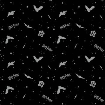 Harry Potter Flannel Brushed Cotton Black Metallic Silver Owls Logo Hogwarts Magical Wizard Witch Fabric Wizarding World Collection per half metre
