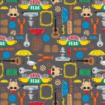 Friends 25th Anniversary Icons Fountain Umbrellas Lobster Central Perk  NYC TV Show Classic Television Cotton Fabric per half metre