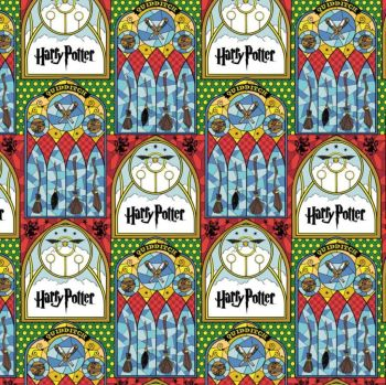 Harry Potter Stained Glass Quidditch Hogwarts Magical Wizard Witch Cotton Fabric Wizarding World Collection per half metre