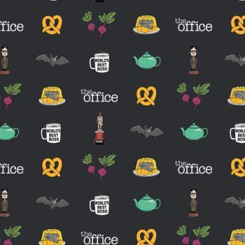 The Office An American Workplace Icons Logo Dunder Mifflin Dundie TV Show Classic Television Cotton Fabric per half metre