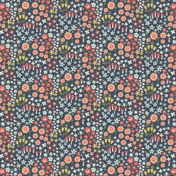 Woodland Spring Wild Flowers Navy Ditsy Floral Toadstool Flowers Cotton Fabric