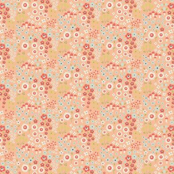 Woodland Spring Wild Flowers Peach Ditsy Floral Toadstool Flowers Cotton Fabric