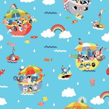 Noah's Ark Main Blue Animals Boat Rainbows Umbrellas Cotton Fabric