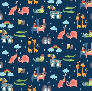 Noah's Ark Two-By-Two Navy Rainbows Clouds Rain Cotton Fabric