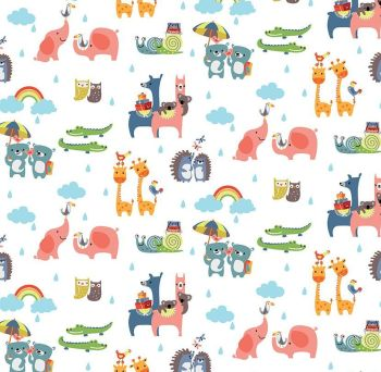 Noah's Ark Two-By-Two White Rainbows Clouds Rain Cotton Fabric