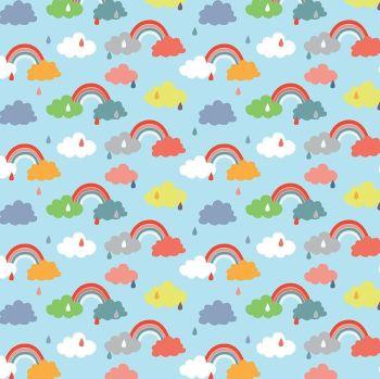 Noah's Ark Promise Blue Rainbows Raindrops Clouds Cotton Fabric
