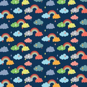 Noah's Ark Promise Navy Rainbows Raindrops Clouds Cotton Fabric