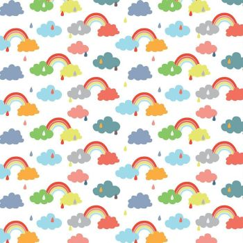 Noah's Ark Promise White Rainbows Raindrops Clouds Cotton Fabric