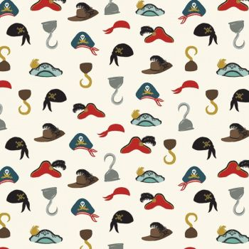 Pirate Tales Hats Cream Pirate Hat Feather Pirates Hook Cotton Fabric