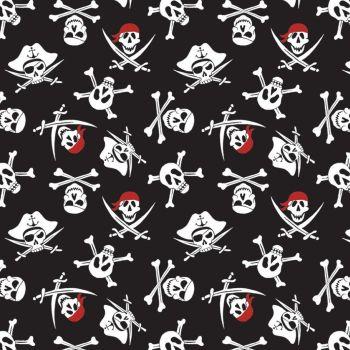 Pirate Tales Skulls Black Pirates Skull Crossed Swords Cotton Fabric