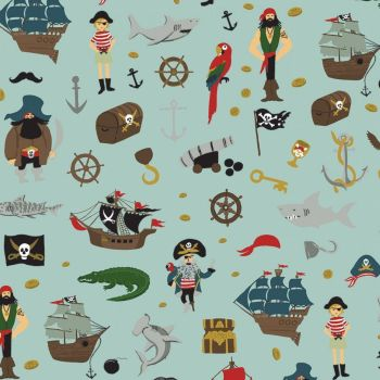 Pirate Tales Scatter Blue Pirates Ship Treasure Sharks Cotton Fabric
