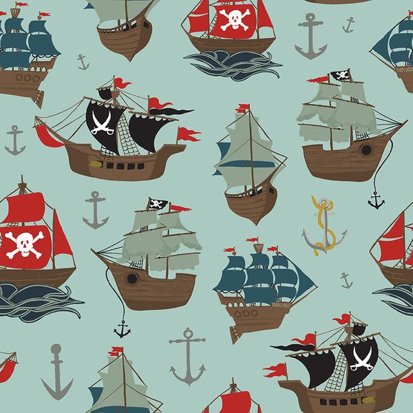 Pirate Tales Ships Blue Tall Ships Sails Anchors Cotton Fabric