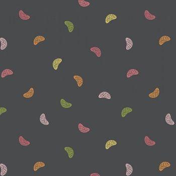 Grove Wedges Toss Charcoal Tangerine Segments Citrus Fruit Cotton Fabric