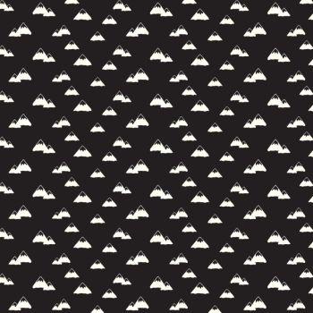 Wild At Heart Mountains Black Monochrome Mountain Cotton Fabric