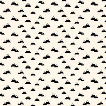 Wild At Heart Mountains Cream Monochrome Mountain Cotton Fabric