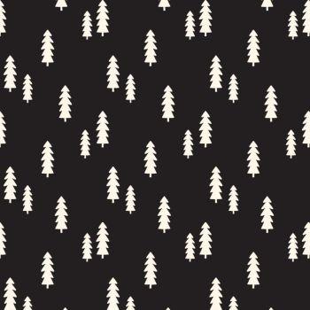 Wild At Heart Trees Black Monochrome Woodland Fir Tree Cotton Fabric