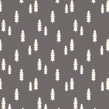 Wild At Heart Trees Gray Monochrome Woodland Fir Tree Cotton Fabric
