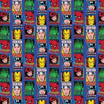 Marvel Superhero Avengers Comic Blocks Blue Thor Hulk Captain America Iron Man Spider-man Black Widow Cotton Fabric per half metre