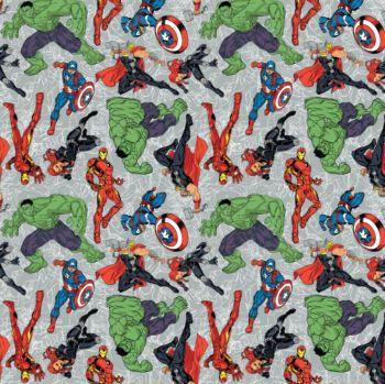 Marvel Superhero Avengers Figures on Grey Thor Hulk Captain America Iron Man Black Widow Cotton Fabric per half metre
