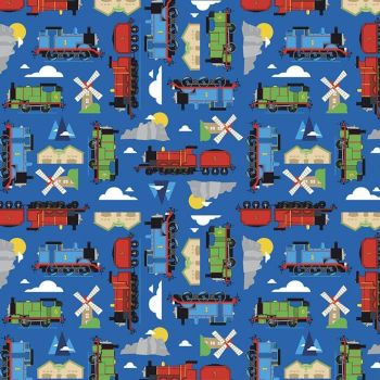 All Aboard with Thomas & Friends DELUXE Blue Train Tank Engines Mountains Windmills Cotton Fabric per half metre