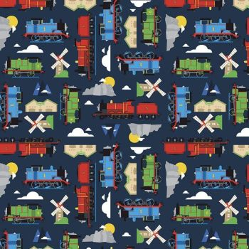 All Aboard with Thomas & Friends DELUXE Navy Train Tank Engines Mountains Windmills Cotton Fabric per half metre