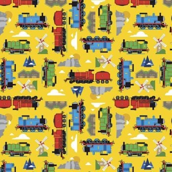 All Aboard with Thomas & Friends DELUXE Yellow Train Tank Engines Mountains Windmills Cotton Fabric per half metre
