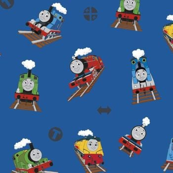 All Aboard with Thomas & Friends DELUXE Main Blue Train Tank Engines Thomas Percy Molly James Edward Cotton Fabric per half metre