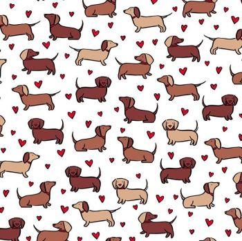 Dachshund Sausage Dogs Love Hearts Wiener Dog White Cotton Fabric