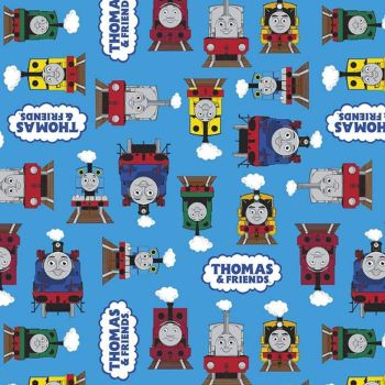 All Aboard with Thomas & Friends DELUXE Tank Engine Train Friends Blue Percy James Gordon Henry Cotton Fabric per half metre