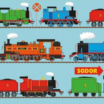 """All Aboard with Thomas & Friends DELUXE Train Line Blue 24"""" Panel Selvedge Print Railway Thomas Henry Gordon James Percy Nia Cotton Fabric"""