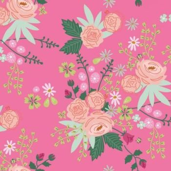New Dawn Main Hot Pink Floral by Citrus and Mint Designs Cotton Fabric