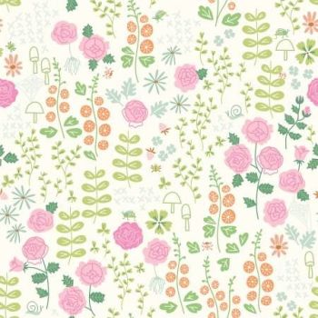 New Dawn Rose Garden Cream Floral Roses Daisies Leaves by Citrus and Mint Designs Cotton Fabric